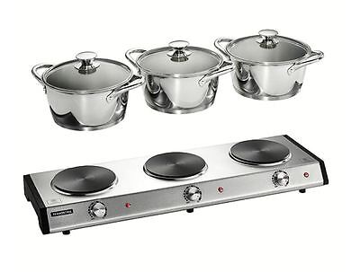 Triple-Pot 7-Pc Electric Party Buffet Warmer Chafing Dish Cookware Food Heater