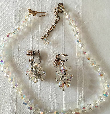 Vintage Faceted Crystal Rhinestone Glass Bead Necklace Earrings Married Set