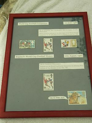 Framed Football Memorabilia - 1966 World Cup stamps
