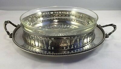 c.1850 Cut Glass Bowl With Silver Plate Tray (Ellington & Co + Mason & Co)