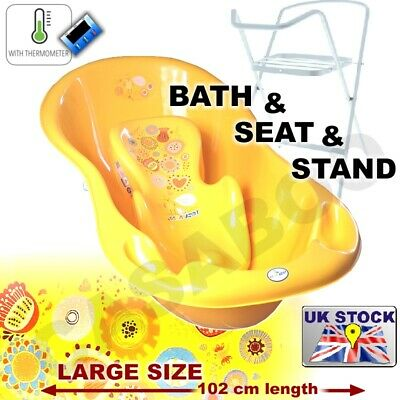 SET LARGE Lux 102cm length Baby Bath Tub with STAND + seat &THERMOMETHER