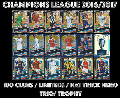 MATCH ATTAX CHAMPIONS LEAGUE 2016/2017 16/17 LIMITED 100 CLUB HAT-TRICK TRIO etc