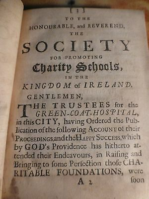Antique Old Post Incunable Book 1721 Green Coat Hospital London Uk