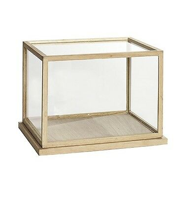 Large Glass Display Oak Cover Dome With Wooden Base Frame Low Danish Design