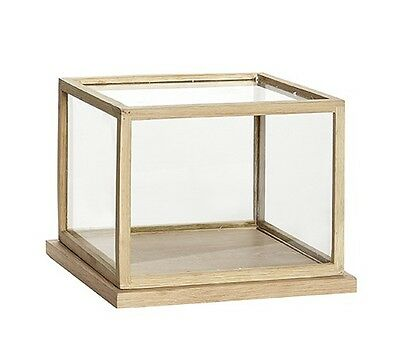 Small Glass Display Oak Cover Dome With Wooden Base Frame Low Danish Design