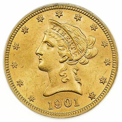 1901 Gold Eagle $10 Liberty Head PCGS MS-62 Classic Gold Coin [3003.01]