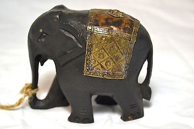 Asian Elephant Brass Wood Carved Figurine Collectible
