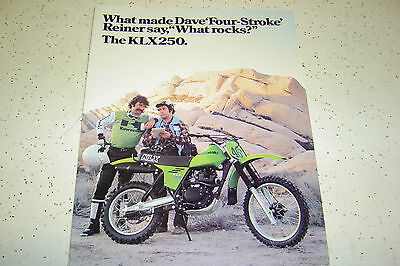 1 Genuine1979 Kawasaki KLX 250cc,4 Stroke NOS Sales Brochure 4 Pages.