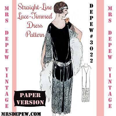 Vintage Sewing Pattern Instructions 1920's Flapper Easy Lace Panel Dress #3022