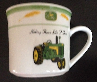 "John Deere coffee cup marketed by Gibson ""nothing runs like a Deere"""