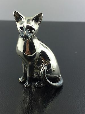 Sterling silver & burnished large Siamese Cat Saturno figurine from Italy
