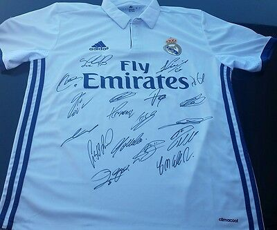 Real Madrid Personally Hand Signed Jersey 2016, Ronaldo, Bale, James Rodriguez