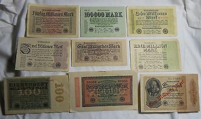 9 Piece Lot Of Early 1900's Notgeld Notes From Germany
