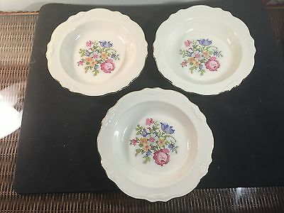 """3 Cunningham and Pickett Petipoint Virginia Rose 8 1/4"""" Rimmed Soup bowlsGold tr"""
