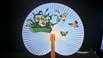 Vintage Paper Hand Fan Oriental Peoples Republic of China folding