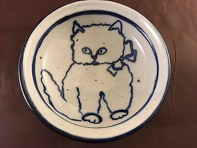 Cat Collectible Stoneware Cereal Fruit Bowl Signed