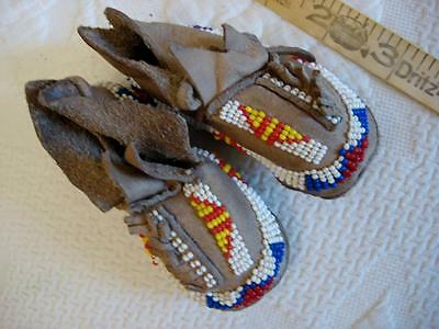 As Found Antique Tribal Native American Child's/baby Beaded Moccasins