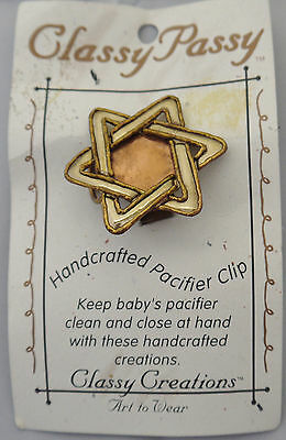 Classy Pass Baby Pacifier Holder Clip Hand Crafted Star of David