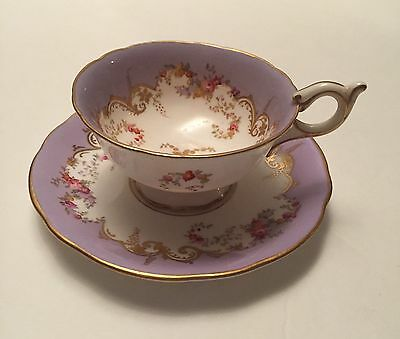 Coalport Purple/Lilac Cup & Saucer England Flowers Wide Gold Trim