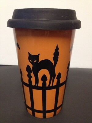 Longaberger Pottery Halloween Coffee Mug Cup Fence Cat Silhouette Rubber Lid