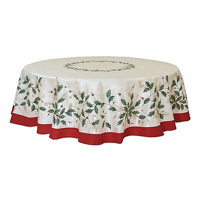"""NIP  LENOX HOLIDAY CHRISTMAS TABLECLOTH   70"""" Round  Holly & Berries Red & Green"""