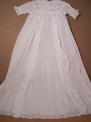 Antique Christening gown with small Ayrshire embroidery motifs