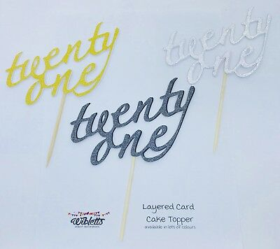 CAKE TOPPER 21 TWENTY ONE 21st BIRTHDAY PARTY GOLD BLACK SILVER BROWN GLITTER