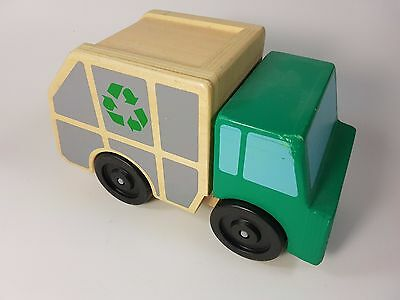 Melissa & Doug Garbage Truck Wooden Vehicle Toy Green Toddler Wheels Classic