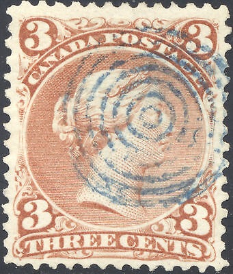 VF Used 3¢ Large Queen #25 - Blue Target Cancel