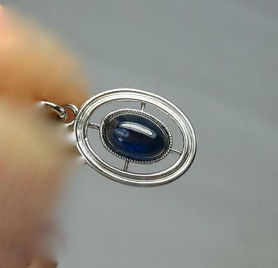 Sapphire Platinum Pendant Art Deco Necklace Edwardian Wedding Victorian