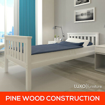 Solid Pine Timber Single Wooden Bed Frame Childrens Kids Bedroom Furniture White