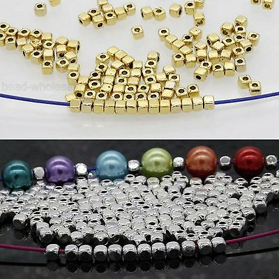 100/500Pcs Loose Cube Tibetan Silver Gold Spacer Beads Findings 3.5*3mm