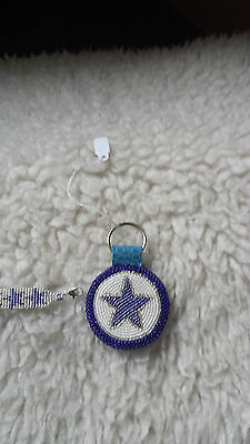 Dallas Cowboys Beaded Bracelet And Keychain...!!!  All Cowboy Fans!!