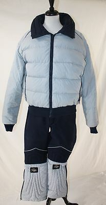 VTG Roffe Mens Ski Suit 2 Pc Outfit, Puffy Down Coat, Wool Pants, Gray Navy, L