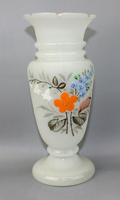 Bristol Glass White Translucent Vase  Hand Painted Flowers 7 1/2 Inches