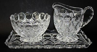 Vintage Princess House Crystal Dots And Frosted Diamonds Creamer Sugar W/ Tray