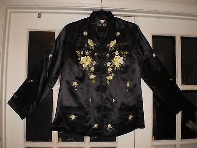 Gorgeous Chinese Black Silk Embroidered Jacket w/Embroidered Flowers & Leaves