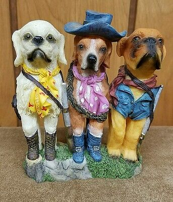 Resin Dogs on Vacation Figurines: Bulldog Pointer Labrador Hunting