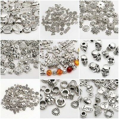 Lots Silver Plated Loose Spacer Beads Charms Jewelry Making DIY