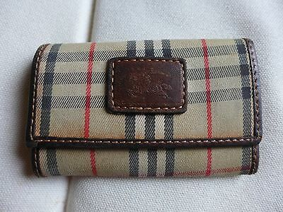 Authentic Burberrys Signature Canvas with Leather Trim Key Holder Italy Made