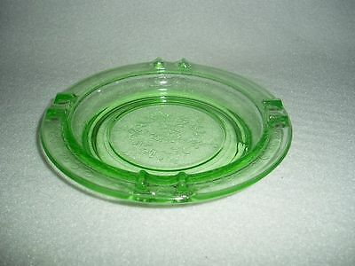 Green FLORENTINE 2 Hazel Atlas Depression Glass LARGE Coaster Ashtray- Free Ship