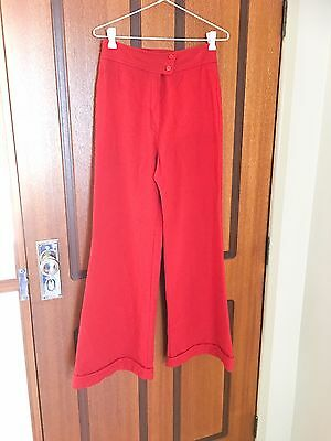 Vintage 1980s Sportscraft High Waisted Flare Wool Pants Trousers Red