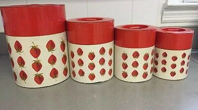 Vintage Tin Strawberry Canister Set Of 4