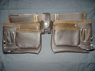 Double Leather Nail Bag Oil Tan 12 Pocket Tape Pouch Hammer Holder Great Value