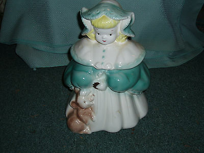Goldilocks Cookie Jar BLUE HOOD & CAPE, flat base, not sure of age on this one