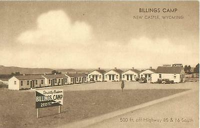 New Castle, Wyoming Billings Camp Cabins 1951 Postcard