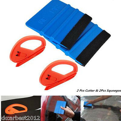 4 pcs Useful Safety Vinyl Cutter & 3M Felt Edge Squeegee Car Auto Wrapping Tools