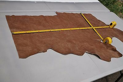 Two tone Brown Cowhide piece/off-cut 95 x 38cm Semi Aniline Flexible cow leather