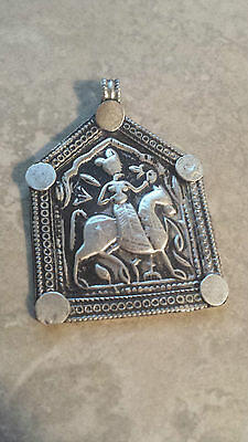 Bhumiya - Old antique tribal silver necklace amulet pendant Hindu 10.8 Grams