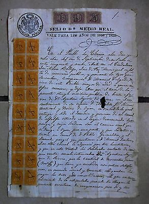PERU spectacular multiple revenue stamps on sealed paper document double usage!